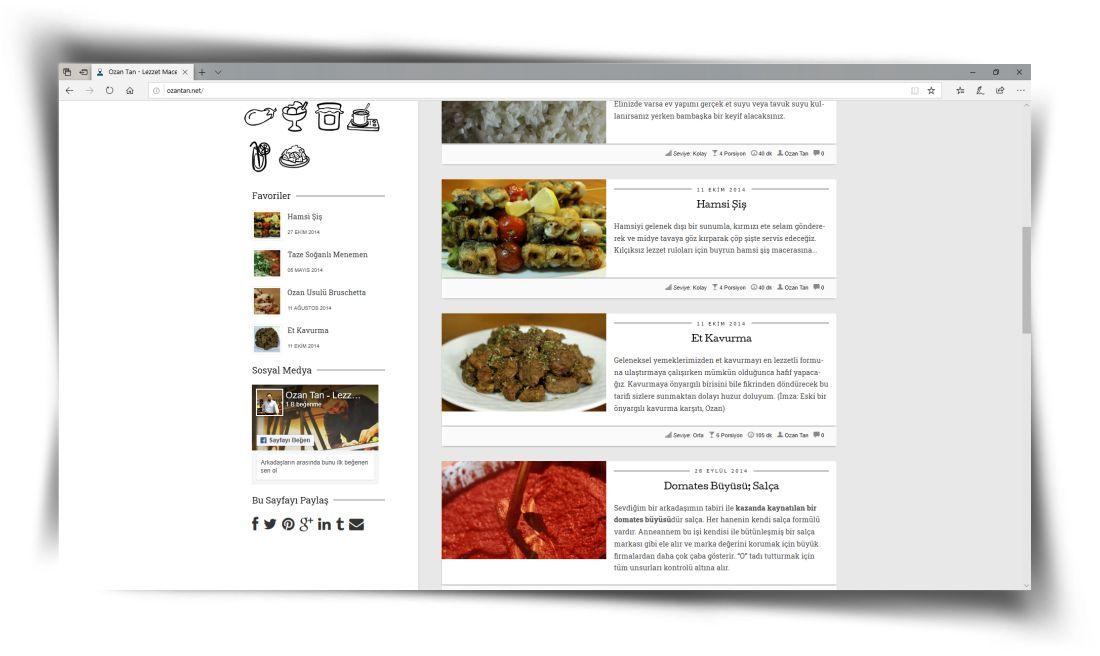 Lezzet Maceraları - Web Sitesi Tasarımı
